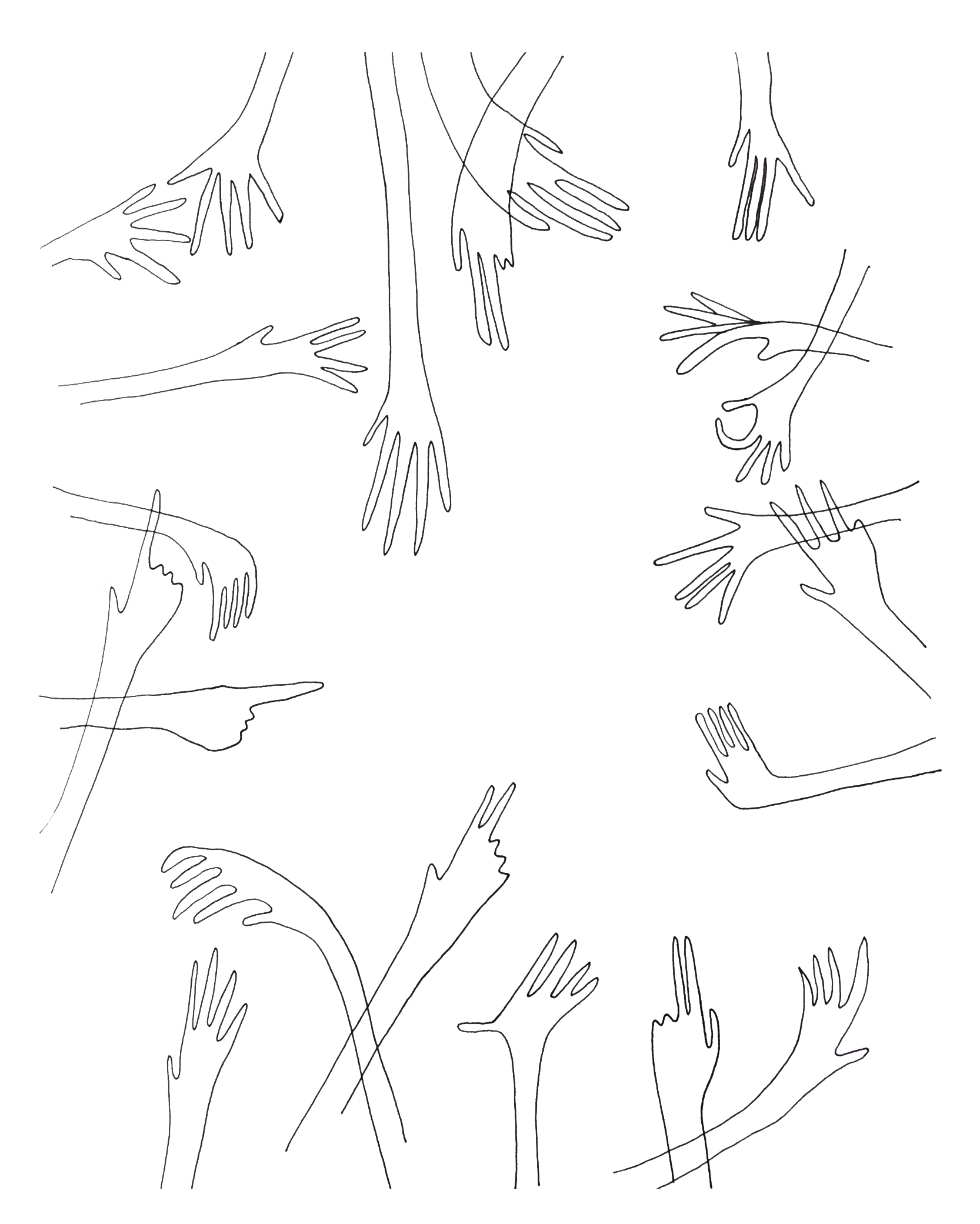 Hands, drawing by Iris Lacoudre